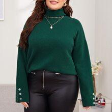 Plus High Neck Drop Shoulder Solid Sweater