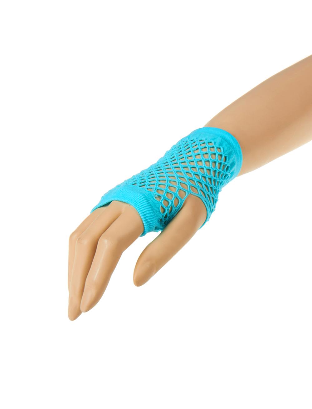 Kostuemzubehor Netzhandschuhe fingerlos kurz tuerkis