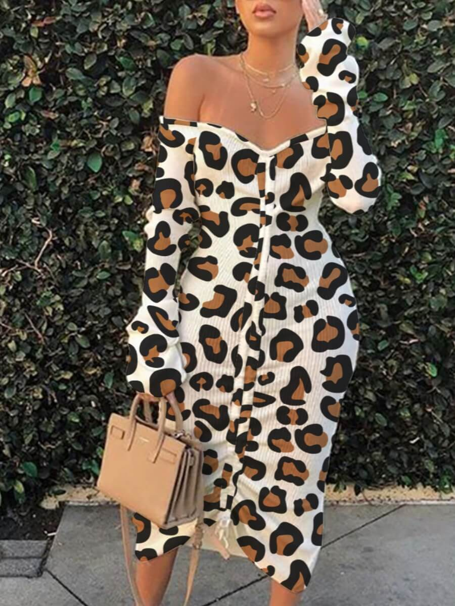 LW Lovely Street Off The Shoulder Leopard Print Mid Calf A Line Dress