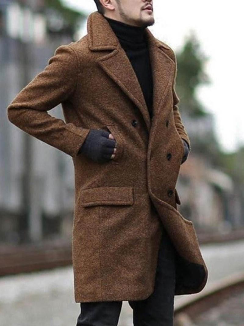 Ericdress Lapel Plain Pocket Men's Casual Coat