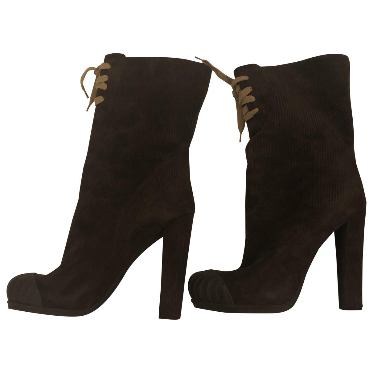 Fendi \N Brown Velvet Ankle boots for Women 40 EU