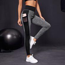 Sports Leggings mit Space Dye, Kontrast Einsatz und Handytasche