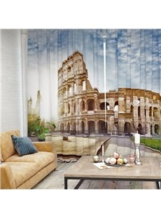 3D Blackout Ancient Roman Architectural Pattern Printed Curtain