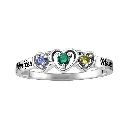 Womens Genuine Multi Color Stone 10K Gold Heart 3-Stone Cocktail Ring, 7 1/2 , No Color Family