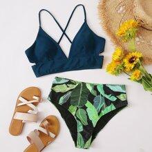 Tropical High Waisted Bikini Swimsuit