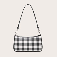 Baguette Tasche mit Plaid Muster