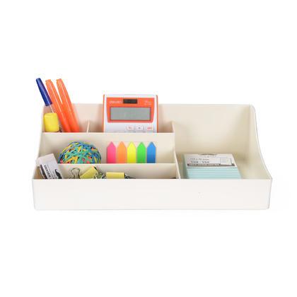 Caddie de bureau avec 5 compartiments, 320 * 192 * 95 mm, blanc, plastique