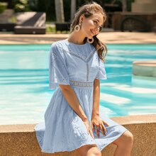 Eyelet Embroidery Backless A-Line Dress