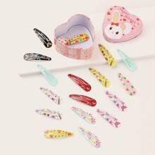 Horquilla de niñitas con patron de caramelo y mariposa 18 piezas