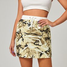 Camo Print Drawstring Waist Skirt