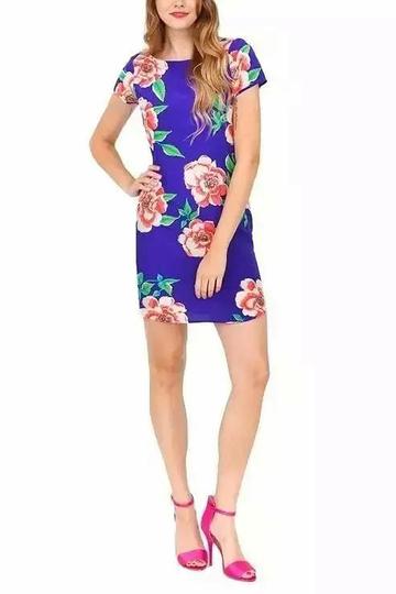 Yoins Blue Floral Print Shift Dress