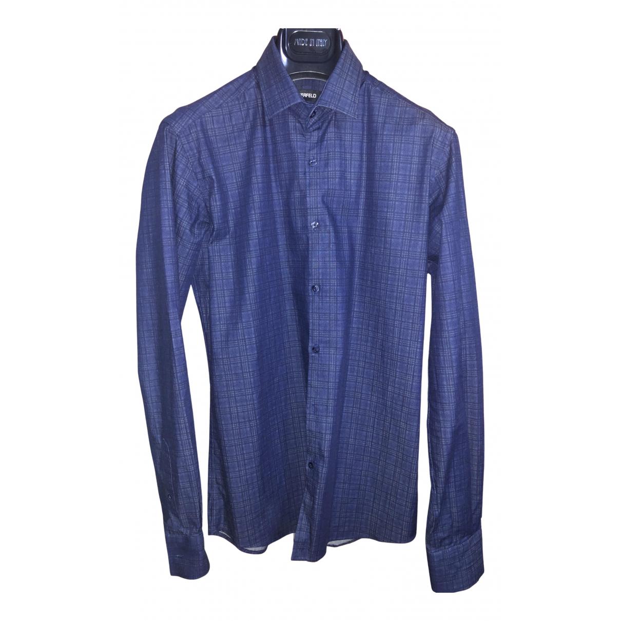 Karl Lagerfeld - Chemises   pour homme en coton - bleu