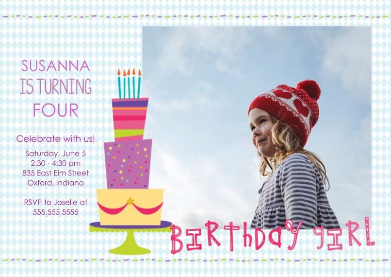 Kids Birthday Party Invites 5x7 Cards, Premium Cardstock 120lb with Rounded Corners, Card & Stationery -Birthday Girl Cake