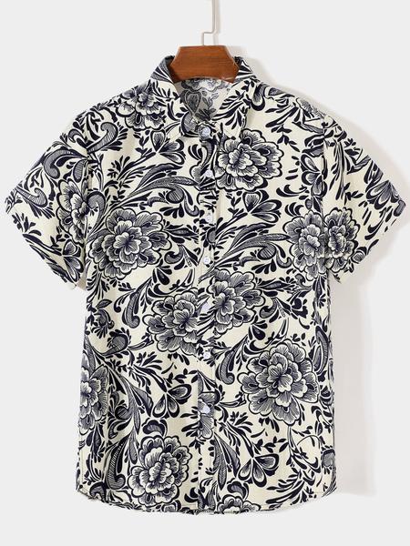 Yoins Men Summer Casual Cotton Floral All Over Print Shirt