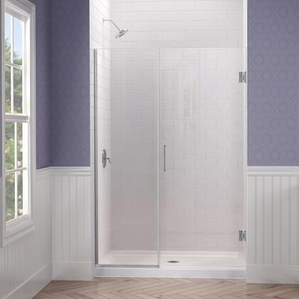 SHDR-243357210-04 Unidoor Plus 33 1/2 - 34 In. W X 72 In. H Frameless Hinged Shower Door  Clear Glass  Brushed