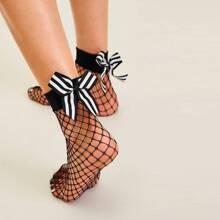 Striped Bow Knot Decor Fishnet Socks 1pair