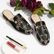 Loafer Pantoffeln mit Blumen Stickereien