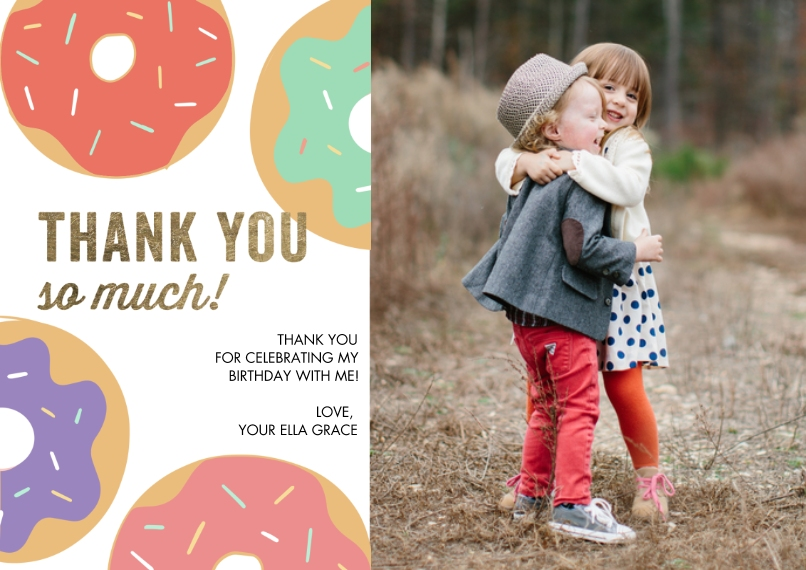 Thank You Cards Mail-for-Me Premium 5x7 Flat Card, Card & Stationery -Thank You Colorful Donuts by Tumbalina