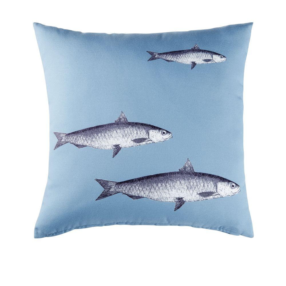 Outdoor-Kissen, blau und bedruckt mit Fischmotiv 45x45