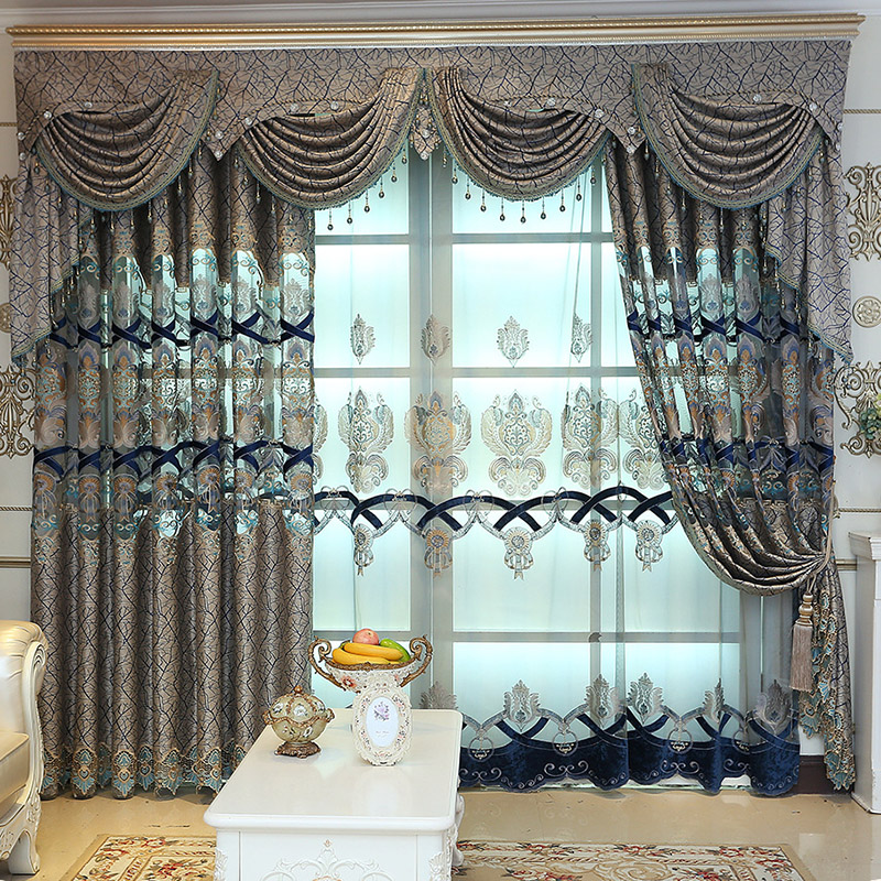 European Embroidered Custom 2 Panels Breathable Sheer Curtains for Living Room No Pilling No Fading No off-lining