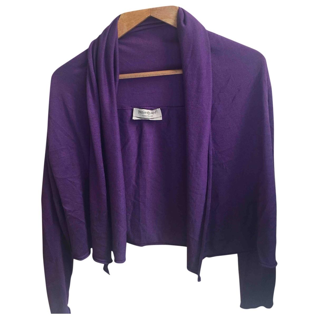 Yves Saint Laurent - Pull   pour femme en laine - violet
