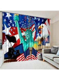 Statue of Liberty Clipart Printing 3D Blackout Curtain