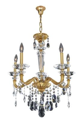 Jolivet 021770-032-FR001 5-Light Chandelier in Historic Brass Finish with Firenze Clear