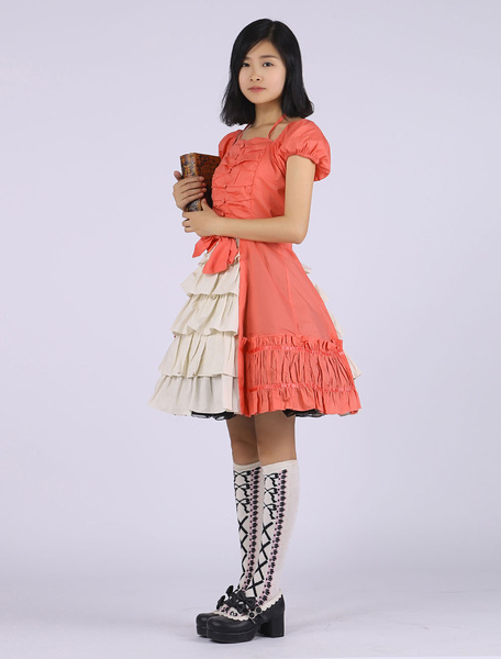 Milanoo Cute Cap Sleeves Satin Classic Lolita Dress