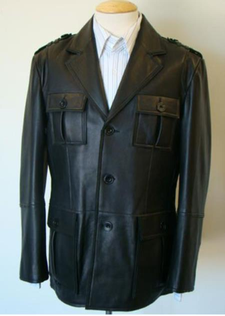 Mens Military-Inspired Leather Button Brown Coat