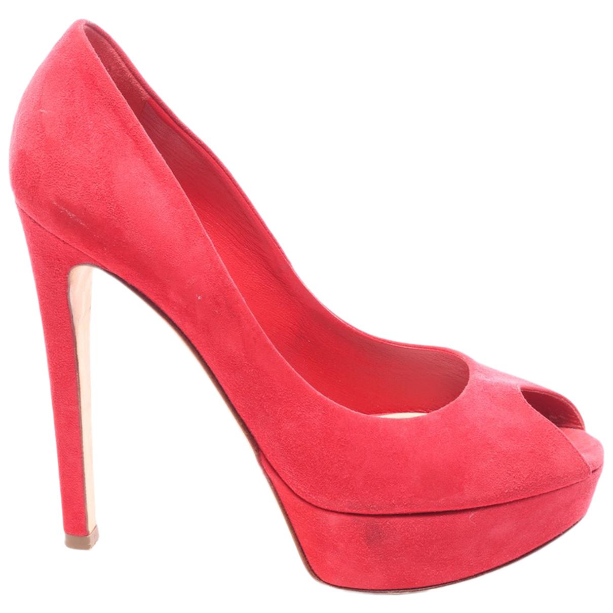 Dior - Escarpins   pour femme en cuir - rouge