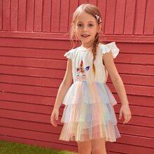 Toddler Girls Cartoon Graphic Tiered Layered Mesh Hem Dress