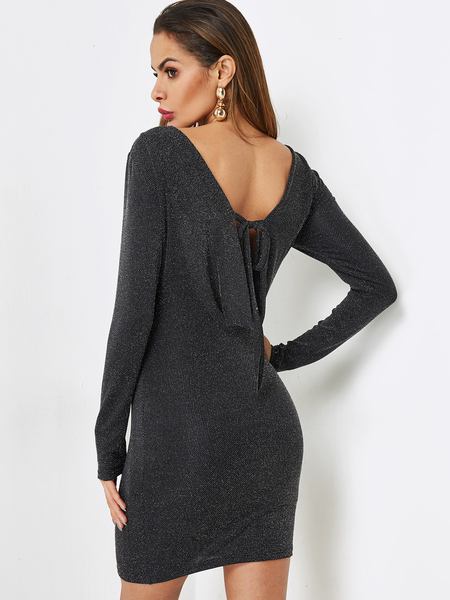 Yoins Black Backless Design Tie-up Party Dress