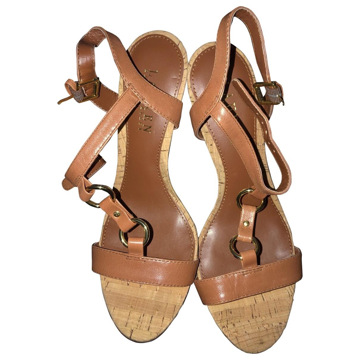 Lauren Ralph Lauren \N Camel Leather Sandals for Women 37 EU