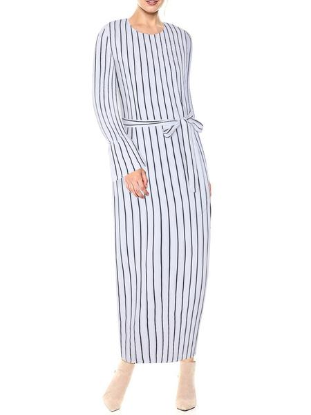 Milanoo Vestidos largos Mangas largas Cuello joya de rayas negras Vestido largo de algodon largo