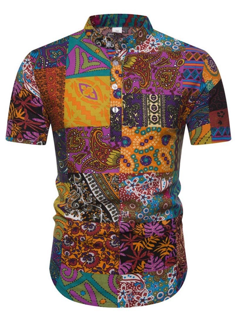 Ericdress Print Floral Stand Collar Men's Slim Shirt