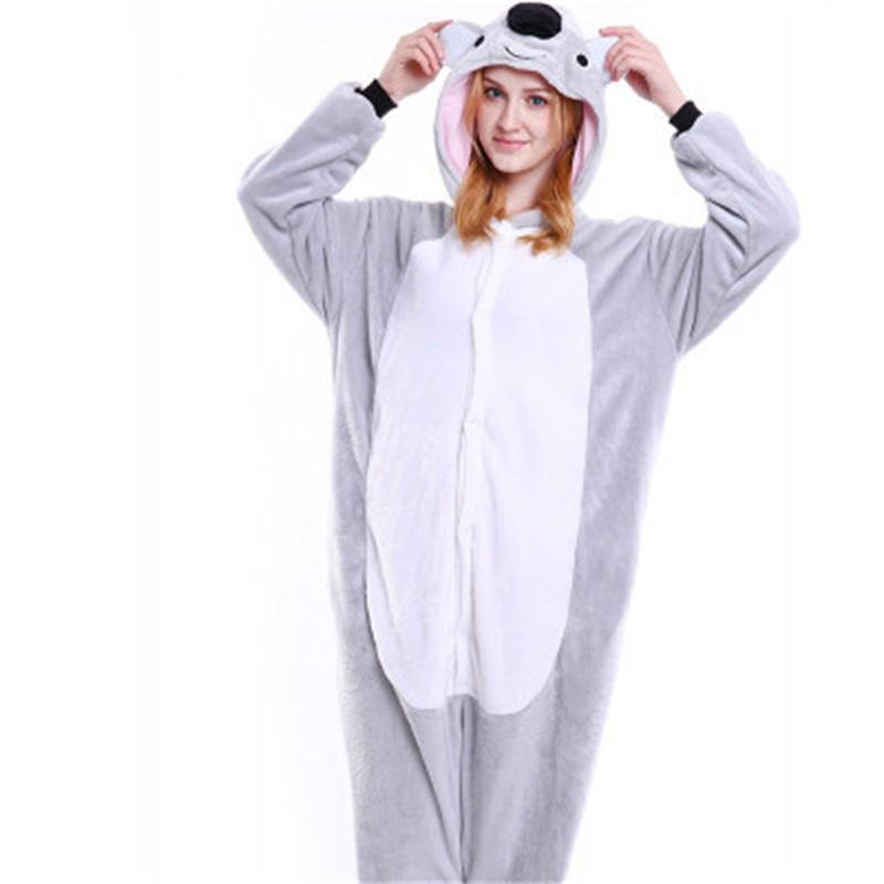 Halloween Lovely Koala Flannel One-Piece Stretchable Pajama Jumpsuit