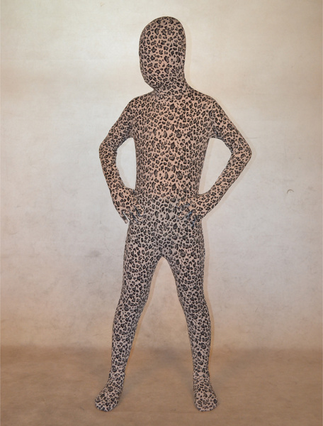 Milanoo Halloween Trendy White Unisex Leopard Print Lycra Spandex Lycra Animal Zentai Suits Halloween