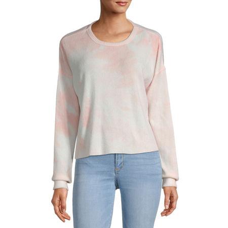 Arizona Juniors-Womens Crew Neck Long Sleeve Tie-dye T-Shirt, Small , Pink