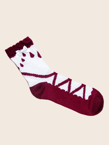 Milanoo Sweet Lolita Socks Light Rain Bow Two Tone Cotton Lolita Sock