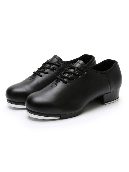Milanoo Womens Tap Dance Shoes Black Round Toe Lace Up Dancing Shoes