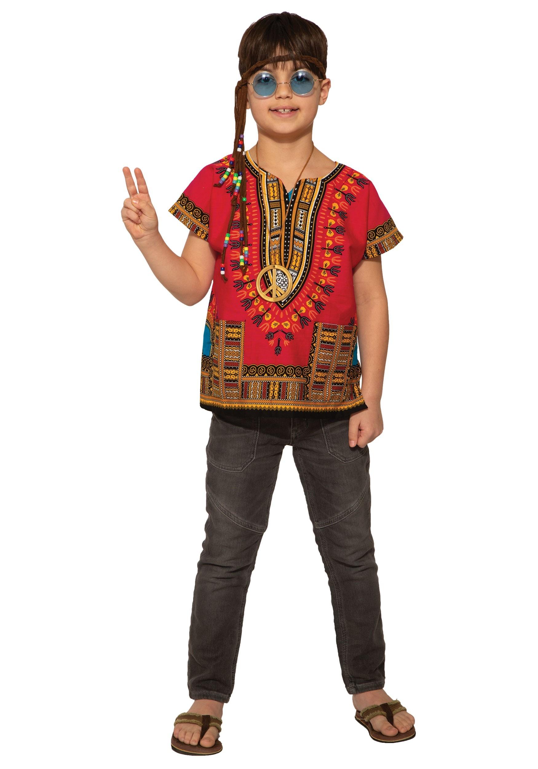Red Dashiki Shirt Kid's Costume