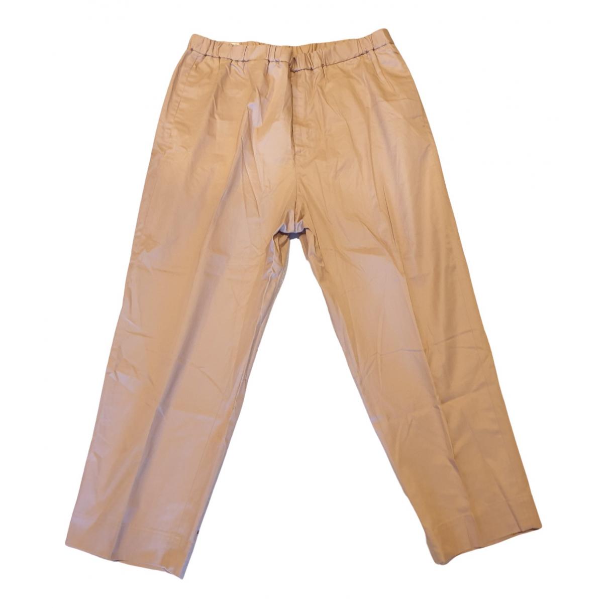 Pantalones en Algodon Beige Jil Sander