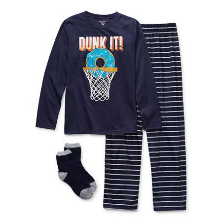 Arizona Little & Big Boys 2-pc. Pant Pajama Set, Medium (10-12) , Blue