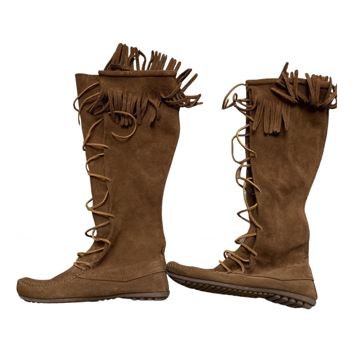 Minnetonka - Bottes   pour femme en cuir - marron