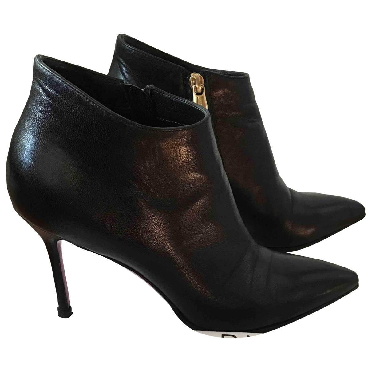 Luciano Padovan \N Black Leather Ankle boots for Women 37 EU