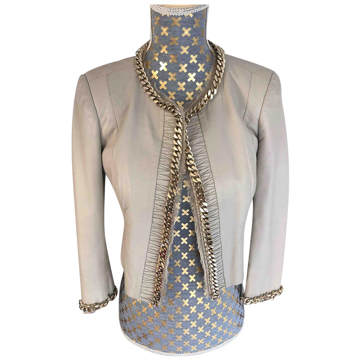 Elisabetta Franchi \N Leather jacket for Women 40 IT