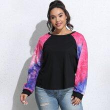 T-Shirt mit Batik Muster und Raglanaermeln