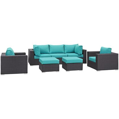 Convene Collection EEI-2200-EXP-TRQ-SET 7-Piece Outdoor Patio Sectional Set with Armless Section  2 Armchairs  2 Corner Sections and 2 Ottomans in