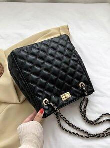 Twist Lock Quilted Shoulder Bag