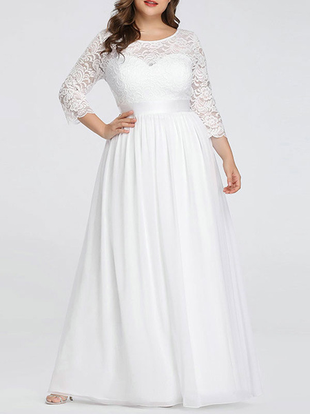 Milanoo Simple Wedding Dresses Lace Chiffon Floor Length 3/4 Length Sleeves Sash Jewel Neck Plus Size Beach Bridal Gowns